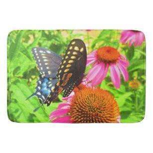 Black Swallowtail Butterfly on Echinacea Flowers Bath Mat