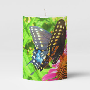 Black Swallowtail Butterfly Pink Echinacea Flowers Pillar Candle