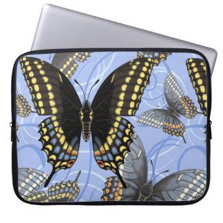 Black Swallowtail Butterfly Swirls Computer Sleeve