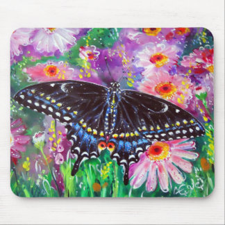 Black Swallowtail on Daisies Mouse Pad