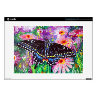 Black Swallowtail on Daisies Decal For Laptop