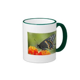 Black swallowtail ringer coffee mug