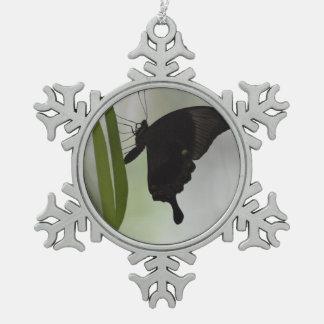 Black Swallowtail Snowflake Pewter Christmas Ornament