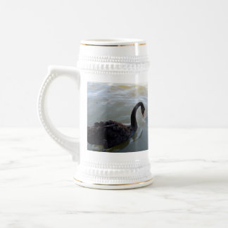 Black Swan Being Attacked By Giant Fish, Beer Stein