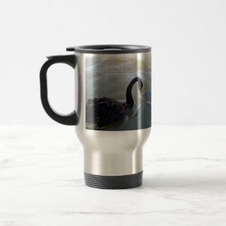 Black Swan Being Attacked By Giant Fish, Travel Mug