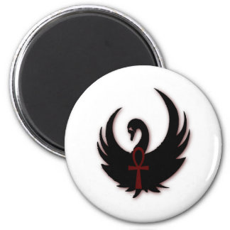 Black Swan with Ankh 2 Inch Round Magnet