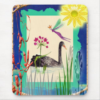 black swan with sun mouse pad