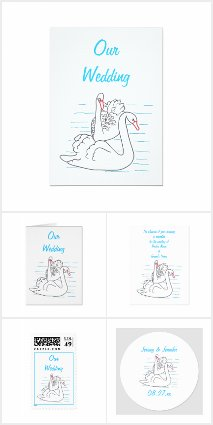 Black Swans Drawing Wedding Invitations Set