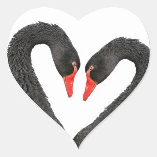 Black swans heart sticker