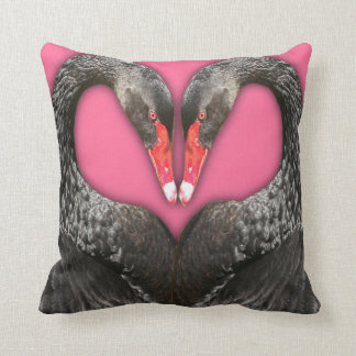 Black swans lovers throw pillow