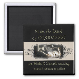 Black Swans Save the Date 2 Inch Square Magnet