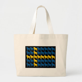 Black Sweden Dala Flag Canvas Bags