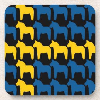 Black Sweden Dala Flag Coaster