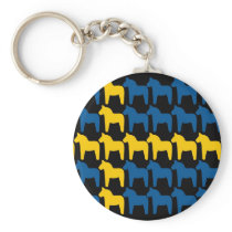 Black Sweden Dala Flag Keychain