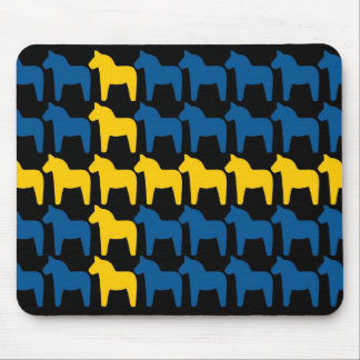 Black Sweden Dala Flag Mouse Pad