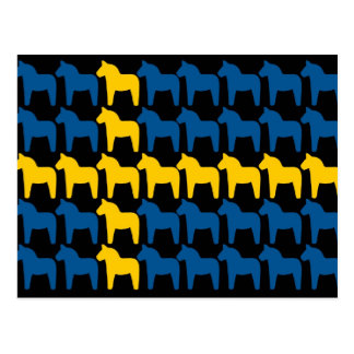 Black Sweden Dala Flag Postcard