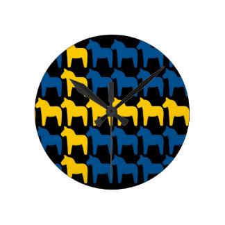 Black Sweden Dala Flag Round Clock