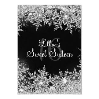 Black Sweet 16 Diamond Snowflake Winter Wonderland 5x7 Paper Invitation Card