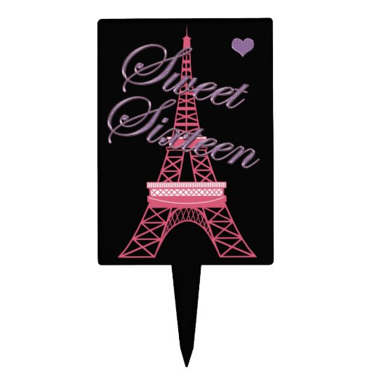 Black Sweet 16 Paris Eiffel Tower Cake Topper