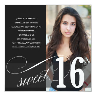 Black Sweet 16 Party Invitation