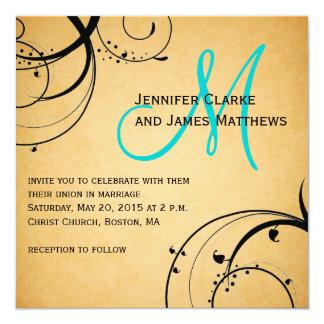 Black Swirl Aqua Monogram Wedding Invitations