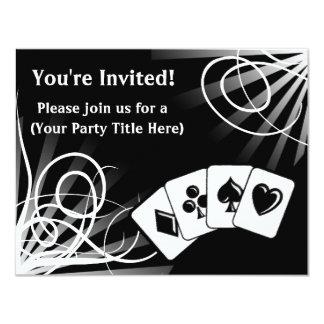 "Black Swirl Custom Invitations 4.25"" X 5.5"" Invitation Card"