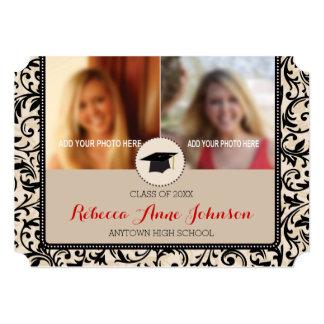 Black Swirl Damask on Tan, 3 Photo Graduation 5x7 Paper Invitation Card