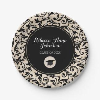 Black Swirl Damask on Tan, Personalized Graduation Paper Plate