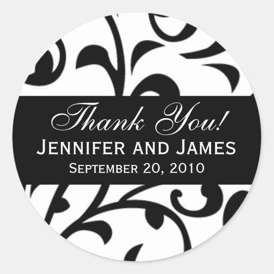 Black Swirl Damask Wedding Thank You Labels