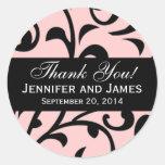 Black Swirl Damask Wedding Thank You Labels Pink Stickers