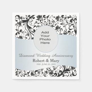 Black Swirl Diamond 60th Wedding Anniversary Photo Paper Napkin