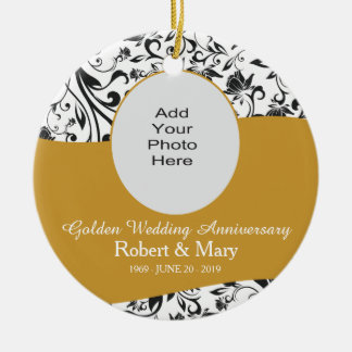 Black Swirl & Gold 50th Wedding Anniversary Photo Ceramic Ornament