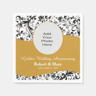 Black Swirl & Gold 50th Wedding Anniversary Photo Paper Napkin