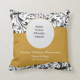 Black Swirl & Gold 50th Wedding Anniversary Photo Throw Pillow