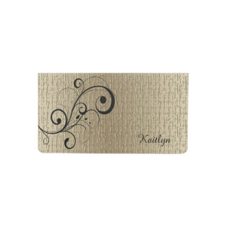 Black Swirl Gold Personalized Checkbook Cover