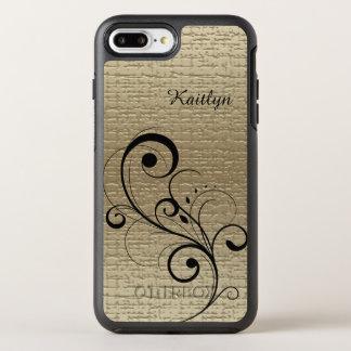 Black Swirl Gold Personalized OtterBox Symmetry iPhone 7 Plus Case