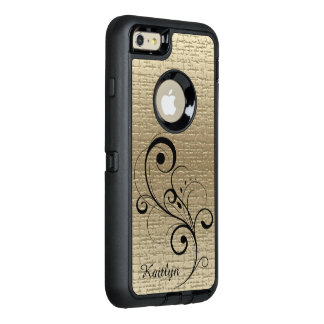 Black Swirl Gold Texture Personalized OtterBox Defender iPhone Case