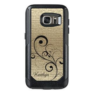 Black Swirl Gold Texture Personalized OtterBox Samsung Galaxy S7 Case