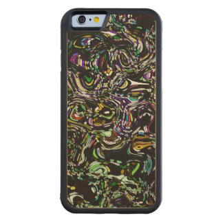 Black Swirl Green Accent Stained Glass Design Carved Maple iPhone 6 Bumper Case