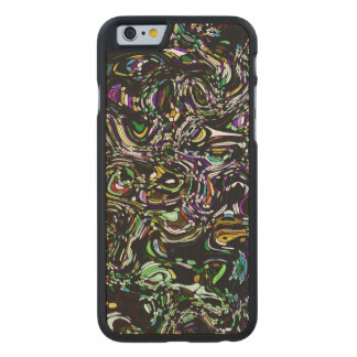 Black Swirl Green Accent Stained Glass Design Carved Maple iPhone 6 Case