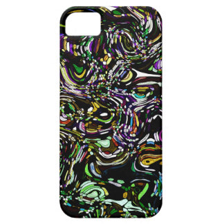 Black Swirl Green Accent Stained Glass Design iPhone SE/5/5s Case
