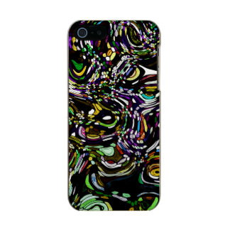 Black Swirl Green Accent Stained Glass Design Metallic Phone Case For iPhone SE/5/5s