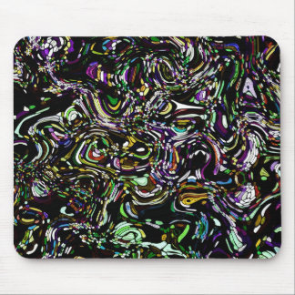 Black Swirl Green Accent Stained Glass Design Mouse Pad