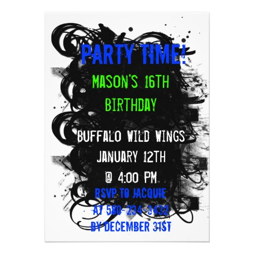 Black Swirl Grunge, Party Time!, Mason's 16th B... Invitations