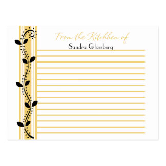 Black Swirl Leaves on Golden Yellow Recipe Cards Postcard
