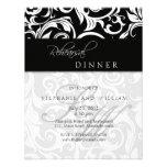 Black Swirl Monogram Rehearsal Dinner Card Invite