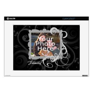Black Swirl Photo Frame Custom Laptop Skin