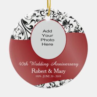 Black Swirl & Red 40th Wedding Anniversary Photo Ceramic Ornament