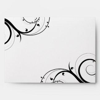 Black Swirl Red Monogram Envelopes