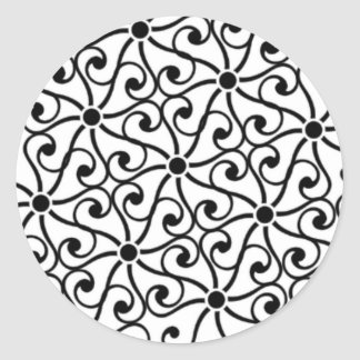 Black Swirl Round Stickers